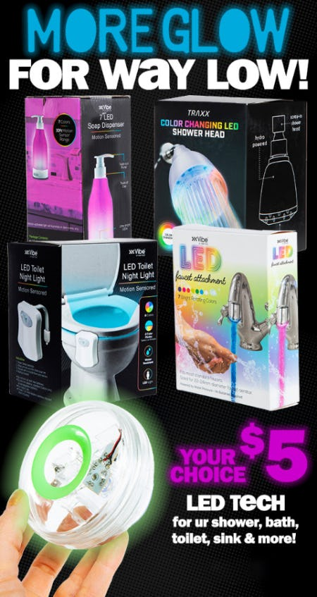 $5 LED Tech for ur Shower, Bath, Toilet, Sink & More from Five Below