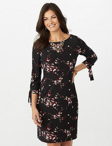 Floral Tie Sleeve Shift Dress At Dress Barn Misses And Woman