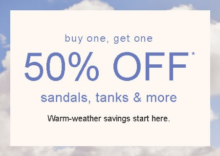 Buy One, Get One 50% Off Sandals, Tanks & More from maurices