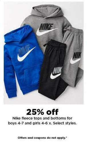 25% Off Nike Fleece Tops and Bottoms from Kohl's