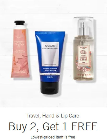 Travel, Hand & Lip Care Buy 2, Get 1 Free from Bath & Body Works/White Barn