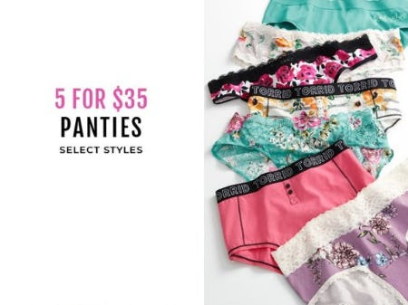 5 for $35 Panties from Torrid