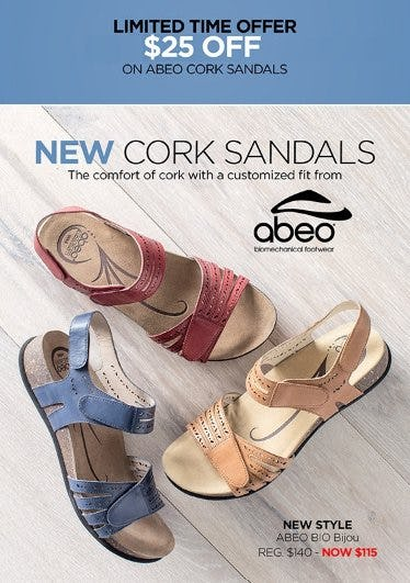 $25 Off on ABEO Cork Sandals from THE WALKING COMPANY