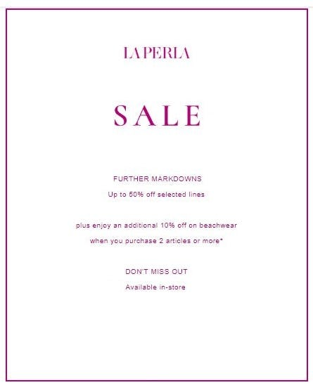 Up to 50% Off Sale from La Perla