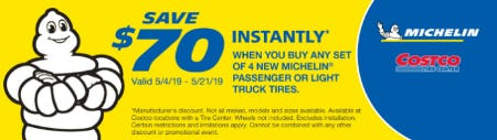 Save $70 Instantly When you Buy 4 New Michelin Passenger or Light Truck Tires from Costco