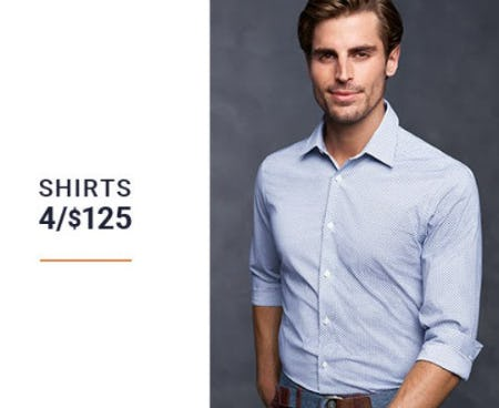 Shirts 4 for $125 from Men's Wearhouse
