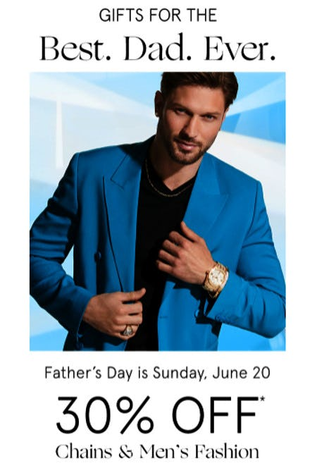 30% Off Chains & Men's Fashion from Zales