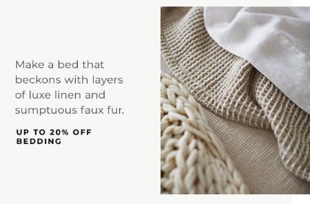 Up to 20% Off Bedding from Pottery Barn