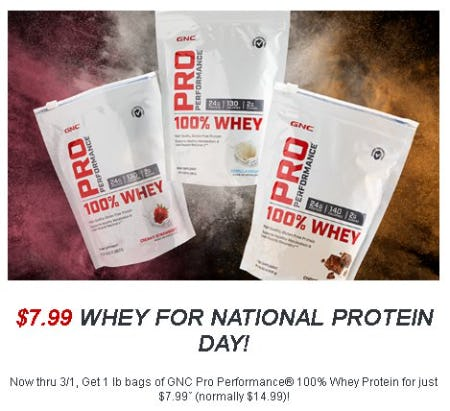 $7.99 Whey for National Protein Day from GNC