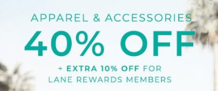 Apparel & Accessories 40% Off