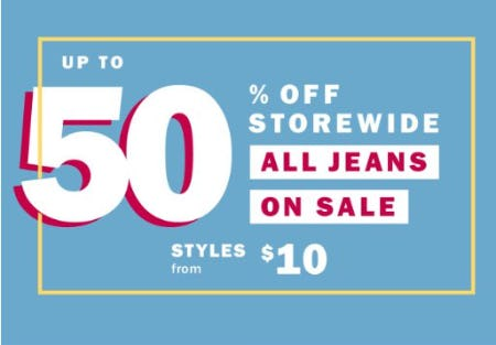Up to 50% Off Storewide All Jeans on Sale from Old Navy