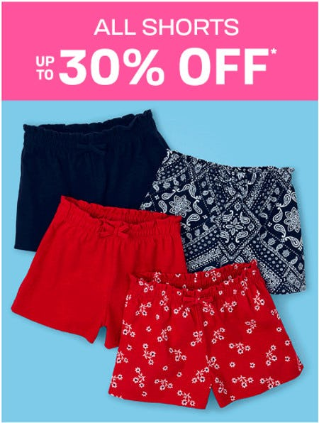 All Shorts up to 30 Off from The Children's Place