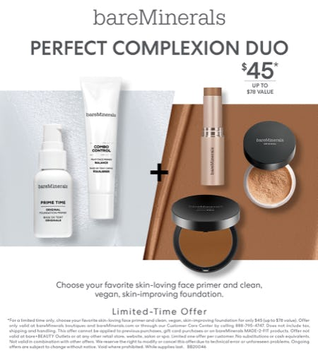 Foundation and Primer Bundle for $45 from bareMinerals