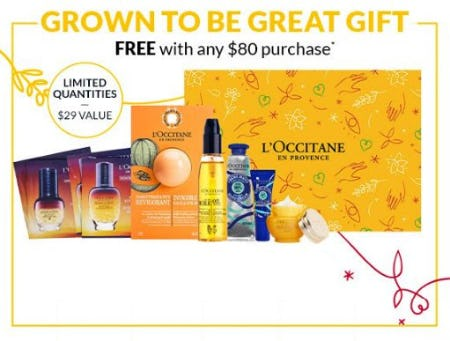Grown to be Great Gift Free With Any $80 Purchase from L'Occitane
