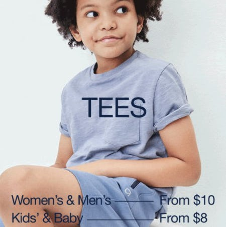 Tees, Shorts, Sweats & Activewear from $10 from Gap