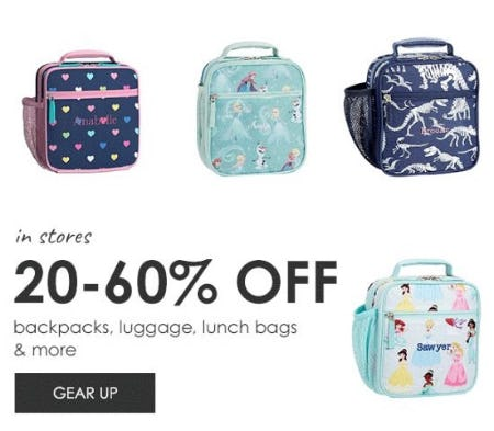 20–60% Off Backpacks, Luggage, Lunch Bags & More from Pottery Barn Kids