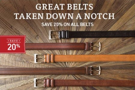 20% Off All Belts