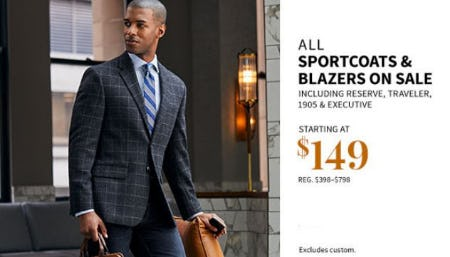 All Sportcoats & Blazers on Sale Starting at $149 from Jos. A. Bank
