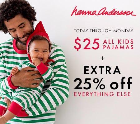 $25 kids PJs + Extra 25% off everything else