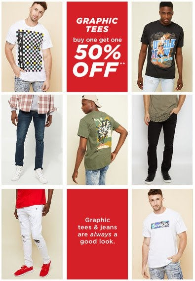 Graphic Tees Buy One, Get One 50% Off from rue21