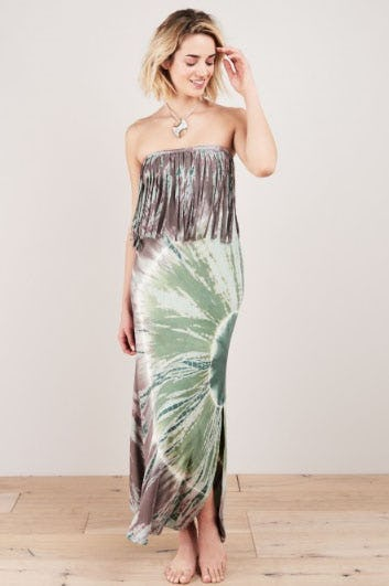 Alaya Tube Fringe Tie Dye Dress from Earthbound Trading Company