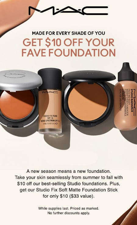 Get $10 Off Your Fave Foundation from M.A.C