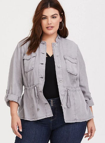 Light Grey Twill Jacket from Torrid
