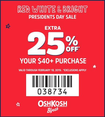 Presidents Day Sale Extra 25% Off $40+* from Oshkosh B'gosh