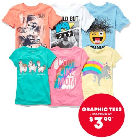 Graphic Tees Starting at $3.99 from The Children's Place