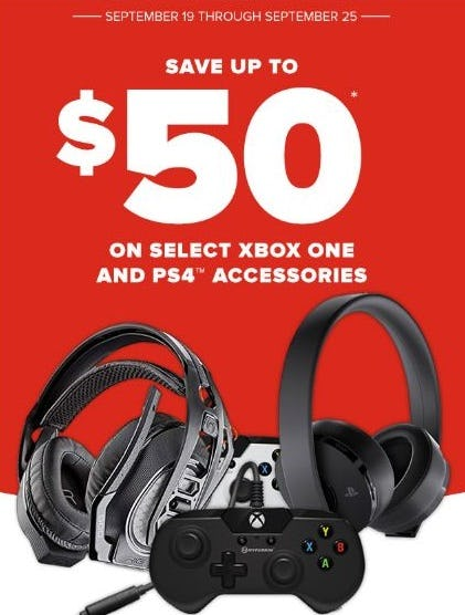 Up to $50 Off Select Xbox One and PS4 Accessories from GameStop