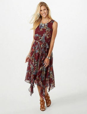 cf8494d7688 Seamed Lace Trim Floral Dress at Dressbarn