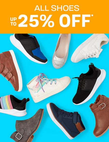 All Shoes Up to 25% Off from The Children's Place