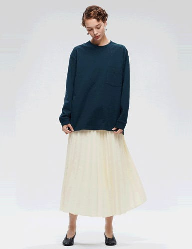 Women's Pleated High-Waisted Long Skirt from Uniqlo