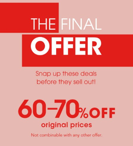 The Final Offer: Save 60-70% from Bloomingdale's