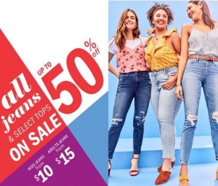 Up to 50% off All Jeans & Select Tops on Sale