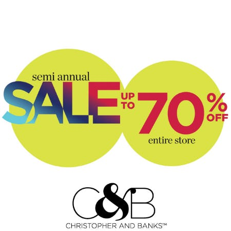 Up to 70% off from christopher & banks