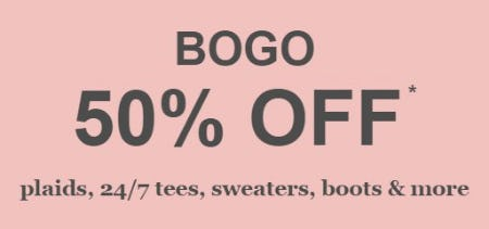 BOGO 50% Off Plaids, 24/7 Tees, Sweaters, Boots & More from maurices