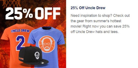 25% Off Uncle Drew from Lids