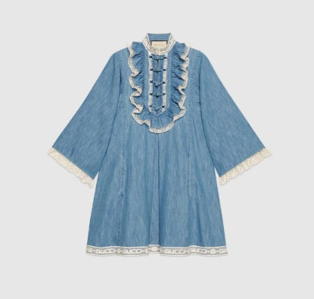 Denim Tunic With Lace Detail from Gucci
