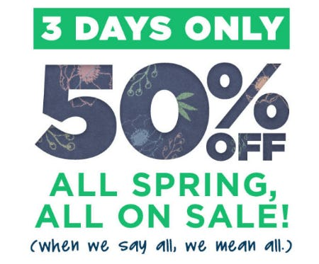 50% Off All Spring