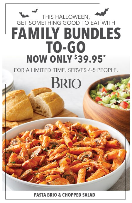 Family Bundles To-Go for only $39 at BRIO