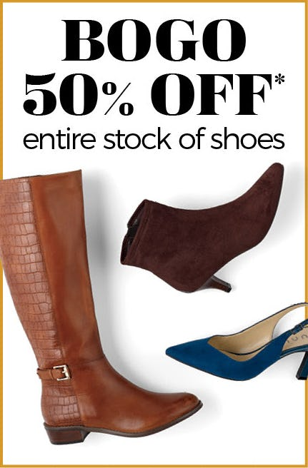 BOGO 50% Off on Our Entire Stock of Shoes from Stein Mart
