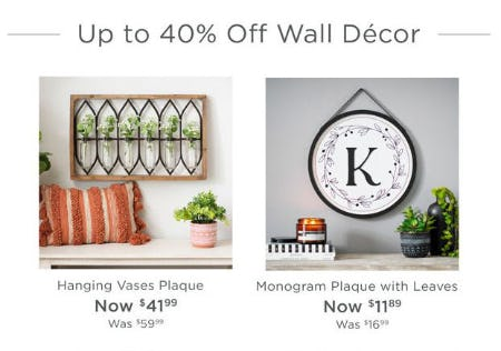 Up to 40% Off Wall Decor from Kirkland's