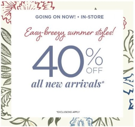 40% Off All New Arrivals from C&B Christopher and Banks