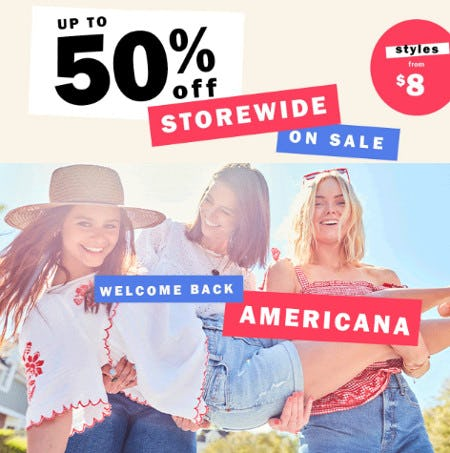 Up to 50% Off Storewide Sale