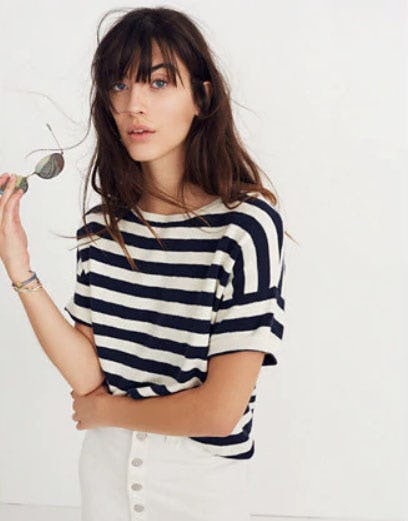 Boxy Sweater Tee in Kelley Stripe from Madewell