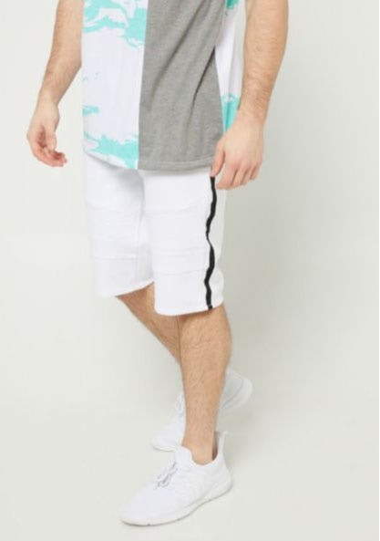 White Varsity Stripe Pattern Moto Shorts from rue21