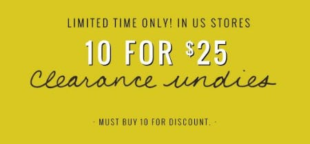 10 for $25 Clearance Undies