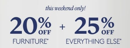 20% Off Furniture plus 25% Off Everything from Pottery Barn Kids