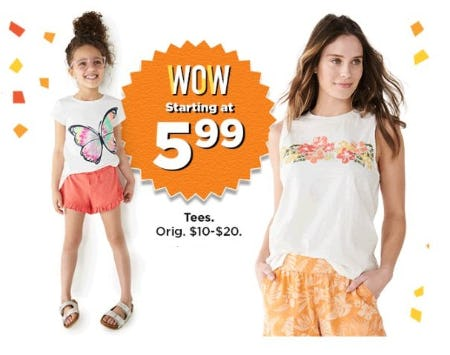Tees Starting at $5.99 from Kohl's